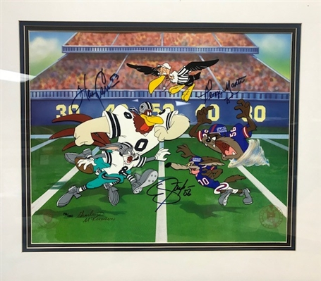 Warner Bros Licensed Animation Cel With Bugs & Friends Playing Football Signed by L. Taylor, H. Carson & G. Martin