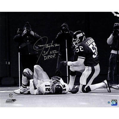 "Lawrence Taylor Sack over Randall Cunningham Horizontal B&W 16x20 Photo w/ ""3x NFL D.POY"" Insc"