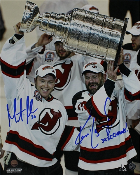Ken Daneyko/ Martin Brodeur Dual Signed 'Raising the Cup' 8x10 Photo w/ 3x SC Champs Insc By Daneyko