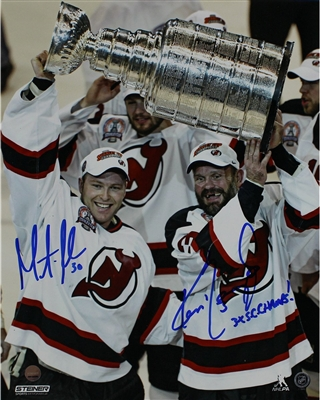 "Ken Daneyko/ Martin Brodeur Dual Signed Raising the Cup 8x10 Photo w/ ""3x SC Champs"" Insc By Daneyko"