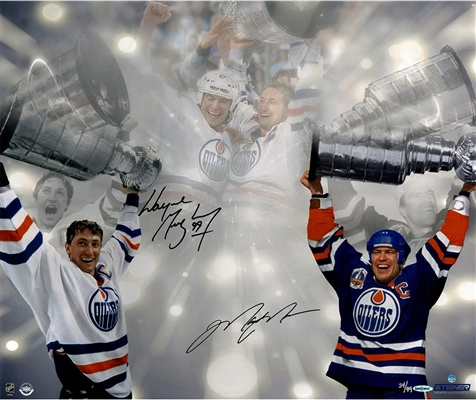 Wayne Gretzky & Mark Messier Dual Signed Stanley Cup 16x24 Photo LE/99 (UDA)