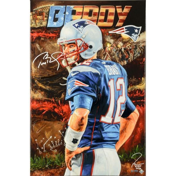 Tom Brady New England Patriots Autographed Art On Canvas