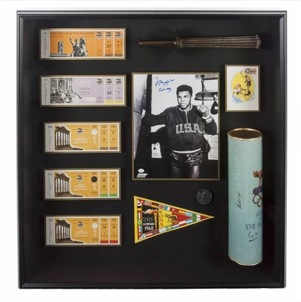 Muhammad Ali RARE framed 1960 Olympic Torch Collage (On-Line Authentics)