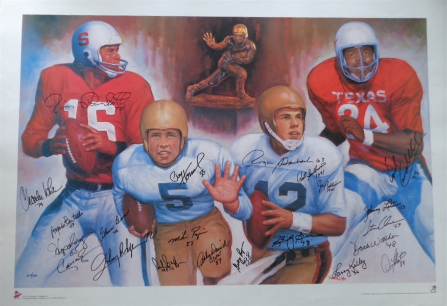 HEISMAN TROPHY WINNERS WITH FACSIMILE SIGNATURES ON A DOO S. OH ART LITHOGRAPH No Reserve