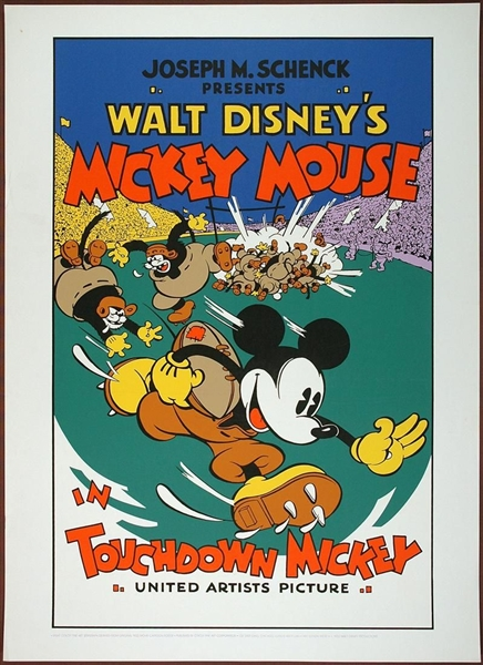 FOOTBALL IS BACK! Vintage Mickey Mouse in Touchdown Mickey 7 Color Fine Art Serigraph Print No Reserve