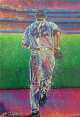 """Enter Sandman"" HOFer Mariano Rivera Giclee on canvas by Sports Artist Bill Lopa LE/200 Signed by Lopa NO RESERVE"