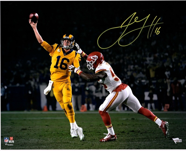 Jared Goff LA Rams Signed 16 x 20 Passing Photo Signed in Yellow to Match his Uniform NICE! Fanatics NO RESERVE!