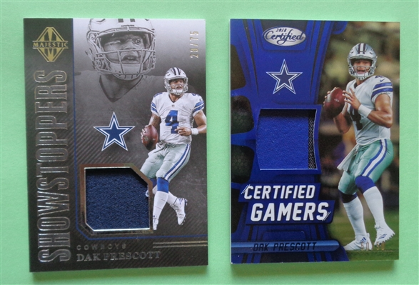 THE COWBOYS ARE HOT! (2) Dak Prescott Game Worn Material Cards Both are Limited Edition NO RESERVE