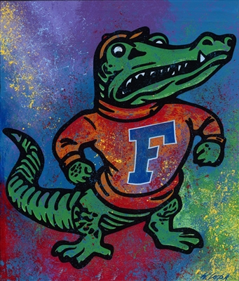 Florida Gators Mascot Logo Lithograph Hand Signed by Artist Bill Lopa NO RESERVE