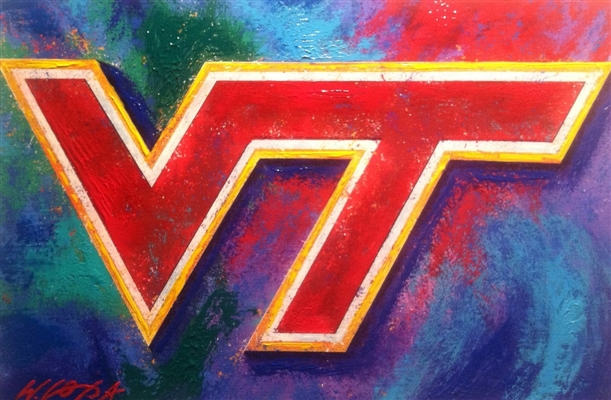 Virginia Tech Hokies Logo Lithograph Hand Signed by Artist Bill Lopa NO RESERVE