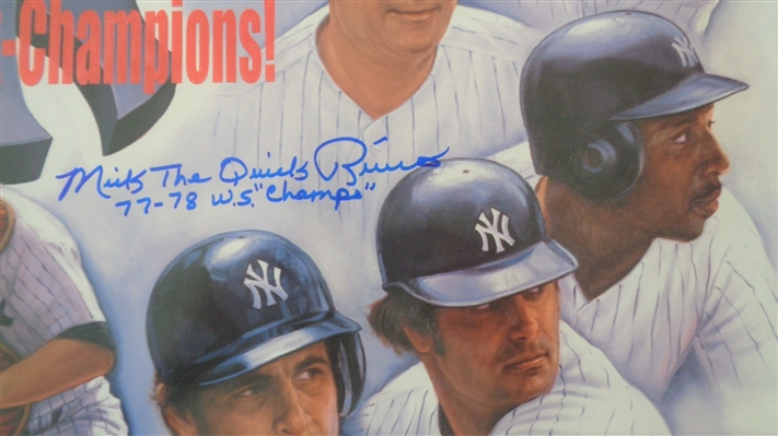 """Back To Back Champs""  1977-78 Yankees Lithograph Hand Signed by Mickey Rivers NO RESERVE"