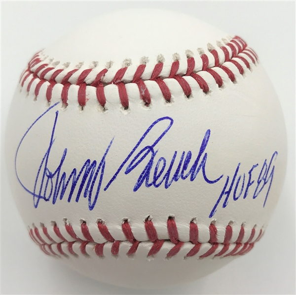 Johnny Bench Autographed Bright White OML Baseball w/ HOF 89 Inscription MLB Certified