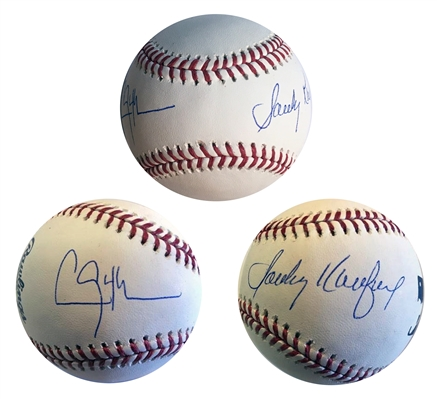 Dodgers Sandy Koufax & Clayton Kershaw Dual Signed OML Baseball MLB Certified