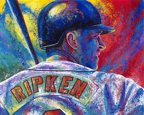 "The ""Ironman"" Cal Ripken Jr Lithograph Hand Signed by Artist Bill Lopa NO RESERVE"