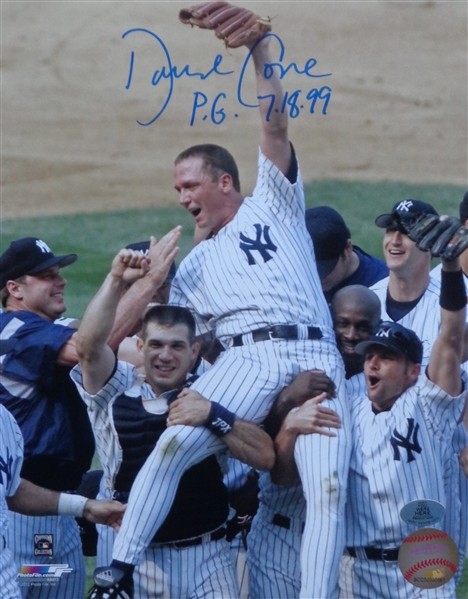 David Cone Signed 8x10 Perfect Game Celebration Photo w/PG 7-18-99 Inscription WYWHP Certified No Reserve