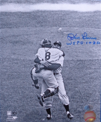 Don Larsen Signed 8x10 Perfect Game Celebration w/Yogi Pic w/WSPG 10-8-56 Inscrip WYWHP No Reserve