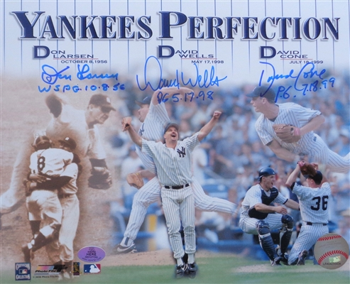 Yankees 3 Perfect Game Pitchers Larsen Wells Cone Signed w/PG Date Inscrips 8x10 Photo WYWHP Certified NO RESERVE