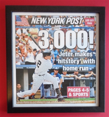 Derek Jeter Framed Copy of the Cover Page of His 3000th Hit from the NY Post dated July 10th 2011 No Reserve