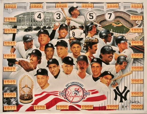 YANKEES 100TH YEAR TRIBUTE FINE ART GICLEE SIGNED BY ARTIST DOO S. OH No Reserve!