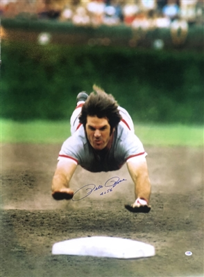 "Pete Rose Signed Sliding in the air to Base Huge 30x40"" photo w/4156 inscription PSA certified NO Reserve"