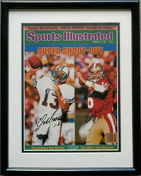 2 HOFer Autos of JOE MONTANA & DAN MARINO Signed 8x10 Framed SI Cover UD Certified No Reserve