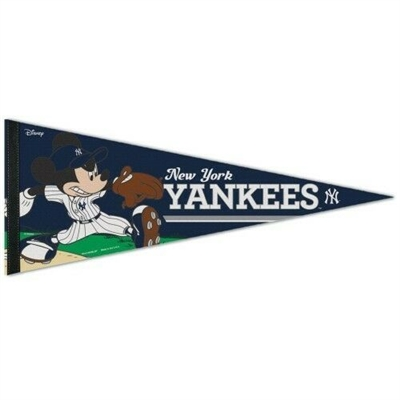 NY YANKEES MICKEY MOUSE DISNEY PREMIUM QUALITY PENNANT / BANNER No Reserve