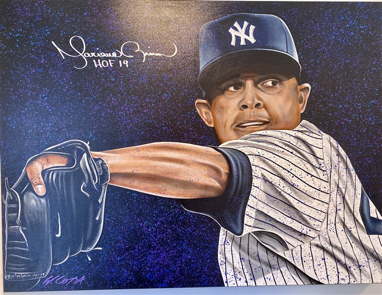 UNANIMOUS Mariano Rivera Original Art Hand Signed With HOF 19 Insc.