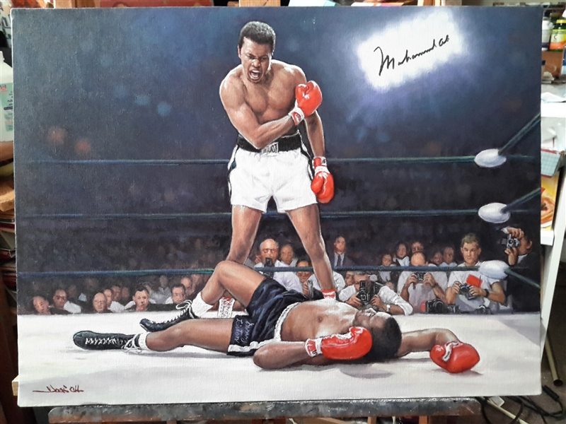 G.O.A.T Muhammad Ali Over Sonny Liston Original Art Hand Signed By ALI