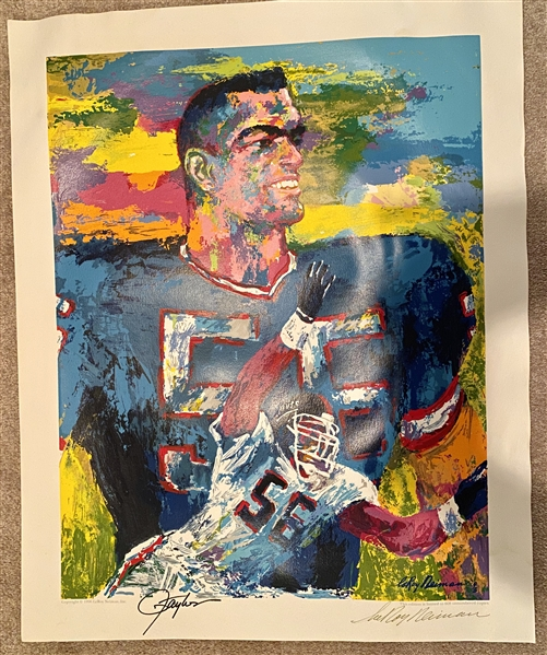 LAWRENCE TAYLOR FINE ART FRAMED SERIGRAPH SIGNED BY TAYLOR AND LEROY NEIMAN LIMITED EDITION OF 608