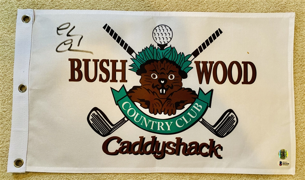 Caddyshack Bushwood Flag Signed By Chevy Chase 12X 21