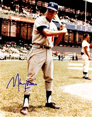 Maury Wills Signed Los Angeles Dodgers Batting Pose 8x10 Photo