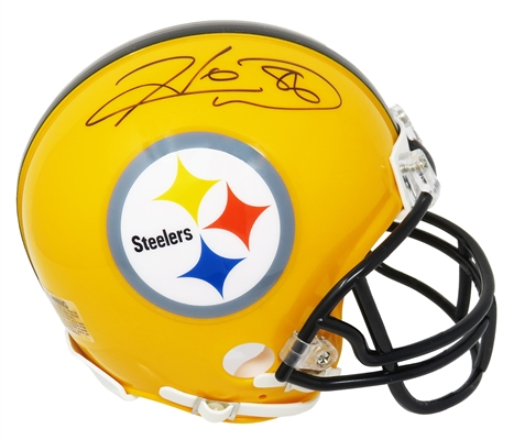 Hines Ward Signed Pittsburgh Steelers Gold 75th Anniversary Riddell Mini Helmet