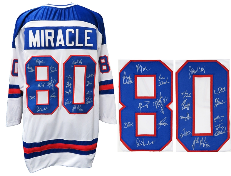 1980 USA Hockey 'Miracle On Ice' Team Signed USA White Custom #80 Throwback Hockey Jersey (18 - Sigs)