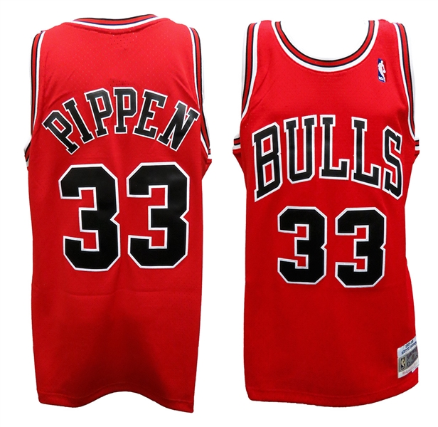 Scottie Pippen Chicago Bulls Red Mitchell & Ness NBA Swingman Basketball Jersey Unsigned (Size X-Large)