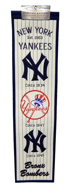 New York Yankees 8x32 Embroidered Genuine Wool MLB Team Heritage Banner Pennant