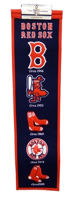 Boston Red Sox 8x32 Embroidered Genuine Wool MLB Team Heritage Banner Pennant