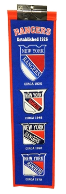 New York Rangers 8x32 Embroidered Genuine Wool NHL Team Heritage Banner Pennant