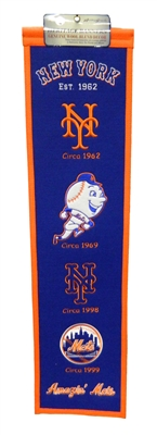 New York Mets 8x32 Embroidered Genuine Wool MLB Team Heritage Banner Pennant