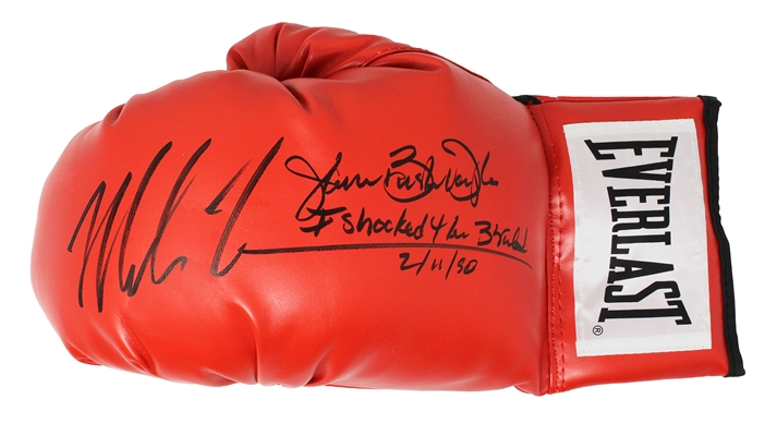 Mike Tyson & James Buster Douglas Dual Signed Everlast Red Boxing Glove w/I Shocked The World 2-11-90