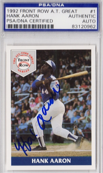Hank Aaron Signed Atlanta Braves 1992 Front Row Card #1