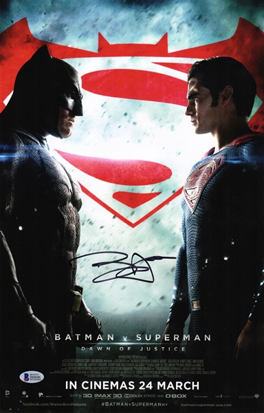 Ben Affleck Signed Batman vs Superman 11x17 Movie Poster