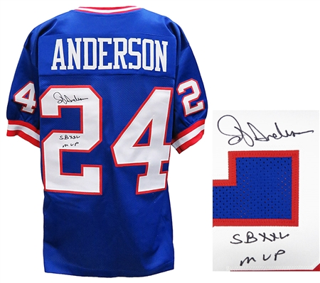 Ottis Anderson Signed Blue Throwback Custom Football Jersey w/SB XXV MVP