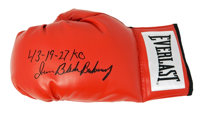 Iran Barkley Signed Everlast Red Boxing Glove w/Blade, 43-19, 27 KOs
