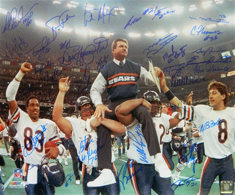 1985 Chicago Bears Team Signed Super Bowl XX Ditka Carried Off Field 16x20 Photo (31 Sigs)