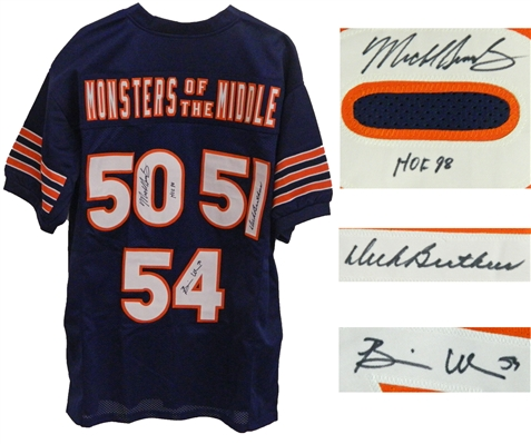 Dick Butkus, Mike Singletary, Brian Urlacher Signed Navy Custom Monsters of the Middle Football Jersey