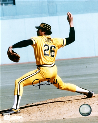 Jim Bibby Signed Pittsburgh Pirates Pitching Action 8x10 Photo