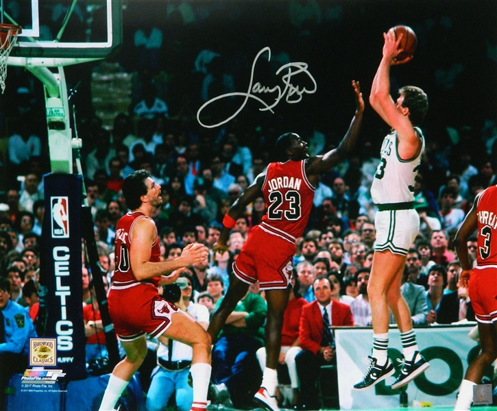 Larry Bird Signed Boston Celtics Shooting Over Michael Jordan 16x20 Photo