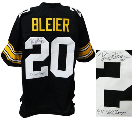 Rocky Bleier Signed Black Throwback Custom Football Jersey w/4x SB Champs
