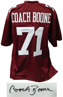 Coach Herman Boone Signed Maroon Throwback Custom Football Jersey - Remember The Titans