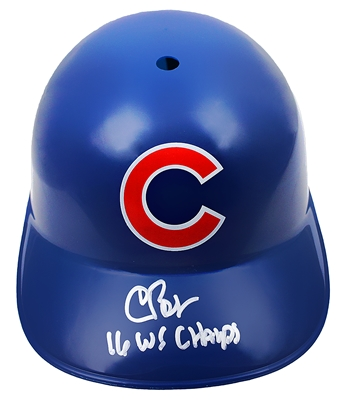 Chris Bosio Signed Chicago Cubs Replica Batting Helmet w/16 WS Champs